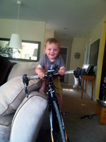 Axel testing out the road bike at 1 yrs old!
