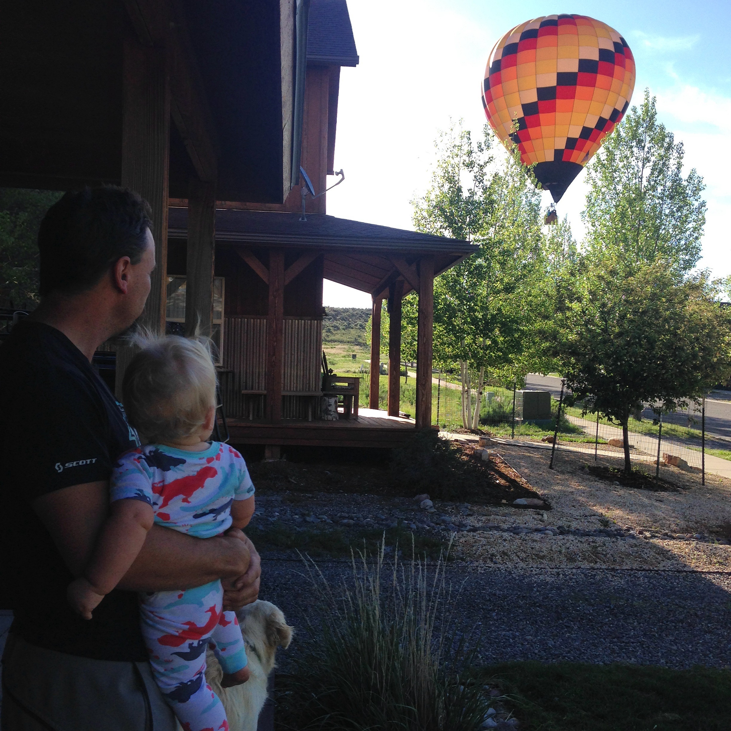 Slowing down to enjoy the morning balloons at home.