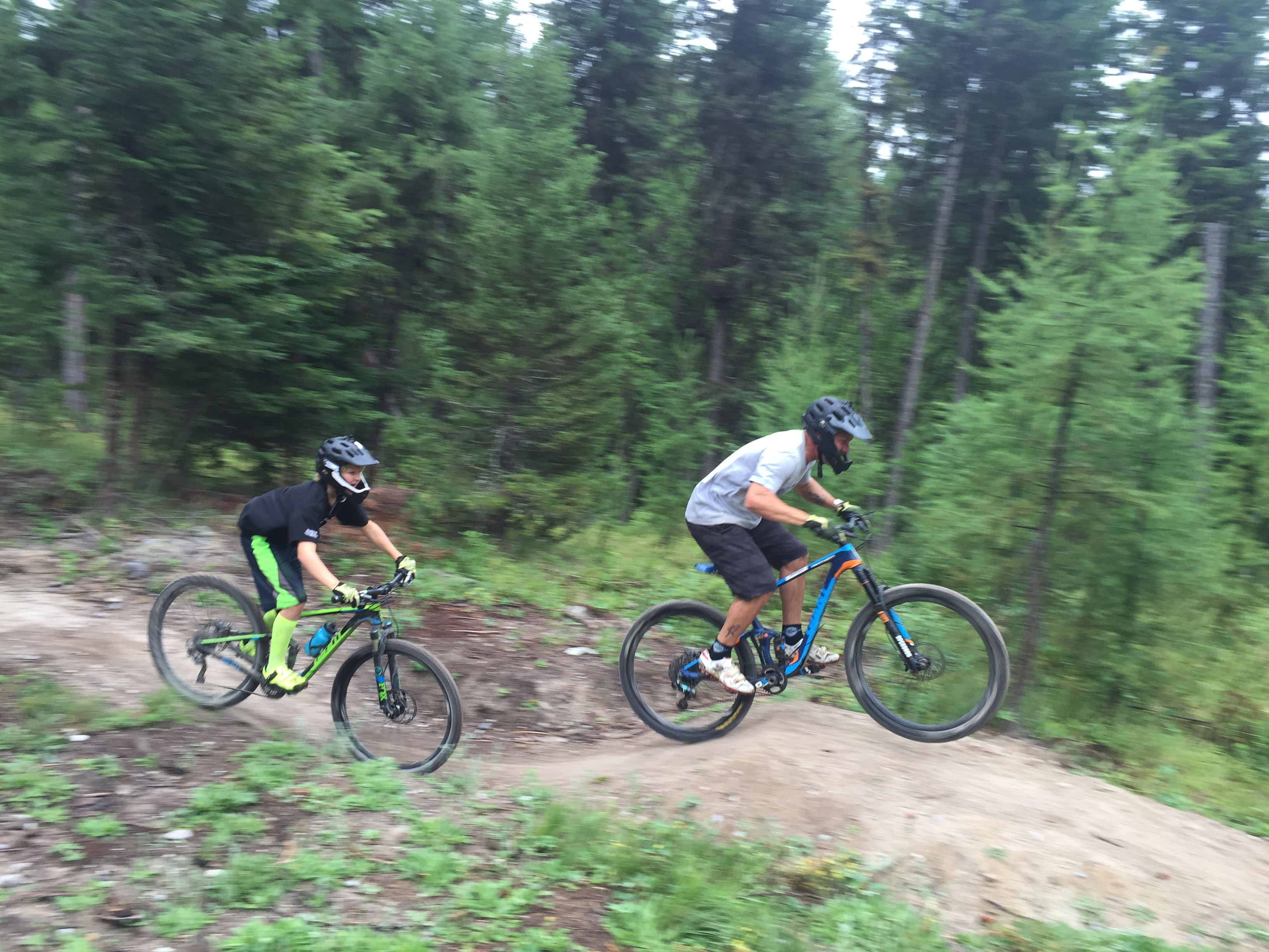 Randy and Kalden taking on the jump line.