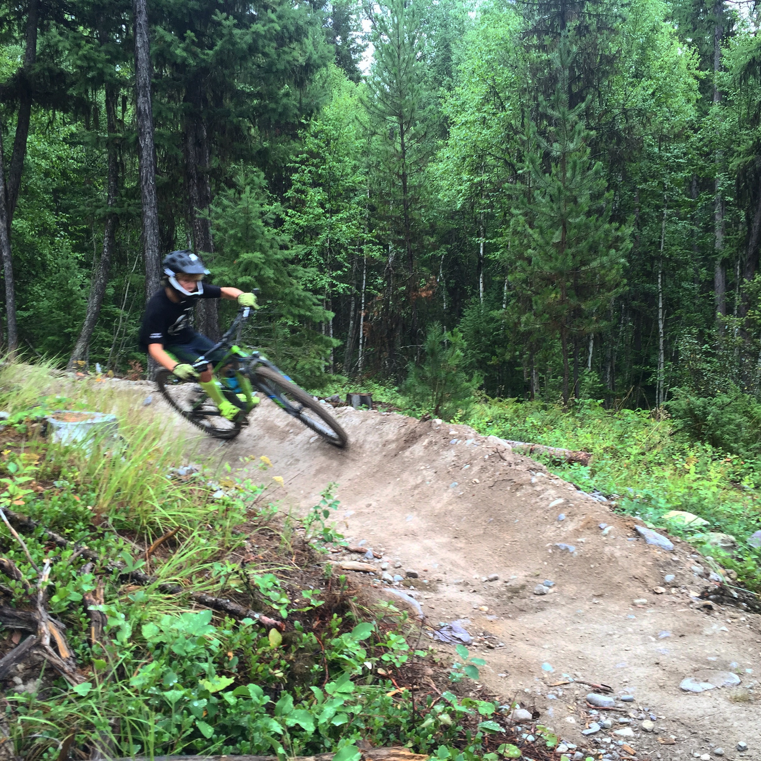 Kalden heading down the flow trail at Whitefish MTB Retreat.